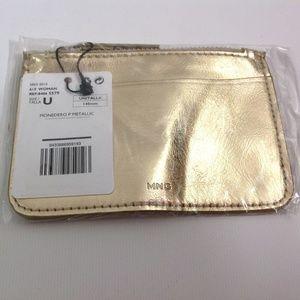 New MNG Women's Tiny Wristlet Purse Zipped Gold OS